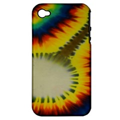 Red Blue Yellow Green Medium Rainbow Tie Dye Kaleidoscope Opaque Color Apple iPhone 4/4S Hardshell Case (PC+Silicone)