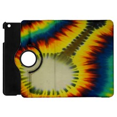 Red Blue Yellow Green Medium Rainbow Tie Dye Kaleidoscope Opaque Color Apple iPad Mini Flip 360 Case