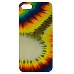 Red Blue Yellow Green Medium Rainbow Tie Dye Kaleidoscope Opaque Color Apple iPhone 5 Hardshell Case with Stand