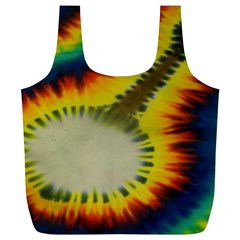 Red Blue Yellow Green Medium Rainbow Tie Dye Kaleidoscope Opaque Color Full Print Recycle Bags (L)