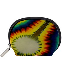 Red Blue Yellow Green Medium Rainbow Tie Dye Kaleidoscope Opaque Color Accessory Pouches (Small)