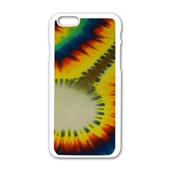 Red Blue Yellow Green Medium Rainbow Tie Dye Kaleidoscope Opaque Color Apple iPhone 6/6S White Enamel Case