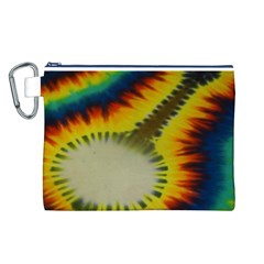 Red Blue Yellow Green Medium Rainbow Tie Dye Kaleidoscope Opaque Color Canvas Cosmetic Bag (L)