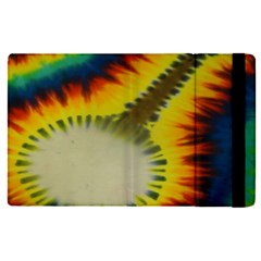 Red Blue Yellow Green Medium Rainbow Tie Dye Kaleidoscope Opaque Color Apple Ipad Pro 12 9   Flip Case