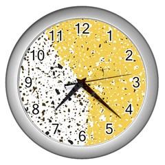 Spot Polka Dots Orange Black Wall Clocks (Silver)
