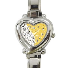Spot Polka Dots Orange Black Heart Italian Charm Watch