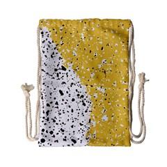 Spot Polka Dots Orange Black Drawstring Bag (Small)