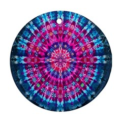 Red Blue Tie Dye Kaleidoscope Opaque Color Circle Ornament (Round)