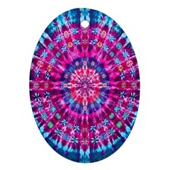 Red Blue Tie Dye Kaleidoscope Opaque Color Circle Ornament (Oval)