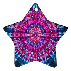 Red Blue Tie Dye Kaleidoscope Opaque Color Circle Ornament (star)