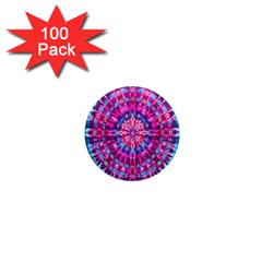 Red Blue Tie Dye Kaleidoscope Opaque Color Circle 1  Mini Magnets (100 pack)