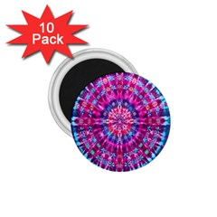 Red Blue Tie Dye Kaleidoscope Opaque Color Circle 1 75  Magnets (10 Pack)