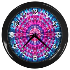 Red Blue Tie Dye Kaleidoscope Opaque Color Circle Wall Clocks (Black)