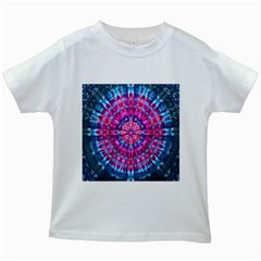 Red Blue Tie Dye Kaleidoscope Opaque Color Circle Kids White T-Shirts