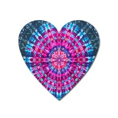 Red Blue Tie Dye Kaleidoscope Opaque Color Circle Heart Magnet