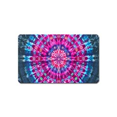 Red Blue Tie Dye Kaleidoscope Opaque Color Circle Magnet (Name Card)