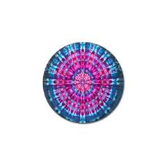 Red Blue Tie Dye Kaleidoscope Opaque Color Circle Golf Ball Marker
