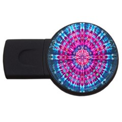 Red Blue Tie Dye Kaleidoscope Opaque Color Circle USB Flash Drive Round (1 GB)