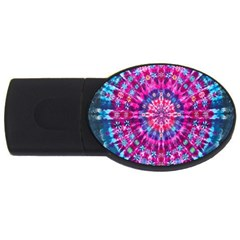Red Blue Tie Dye Kaleidoscope Opaque Color Circle USB Flash Drive Oval (1 GB)