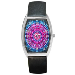 Red Blue Tie Dye Kaleidoscope Opaque Color Circle Barrel Style Metal Watch