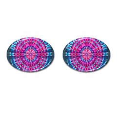 Red Blue Tie Dye Kaleidoscope Opaque Color Circle Cufflinks (Oval)