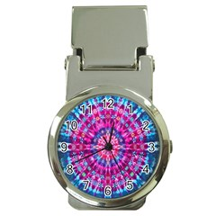 Red Blue Tie Dye Kaleidoscope Opaque Color Circle Money Clip Watches