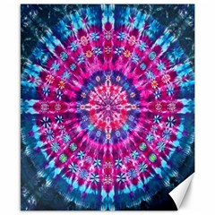 Red Blue Tie Dye Kaleidoscope Opaque Color Circle Canvas 8  x 10