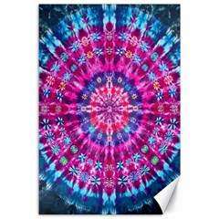 Red Blue Tie Dye Kaleidoscope Opaque Color Circle Canvas 24  x 36