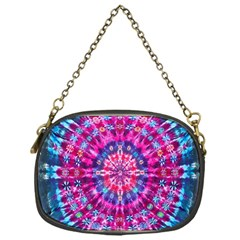 Red Blue Tie Dye Kaleidoscope Opaque Color Circle Chain Purses (One Side)