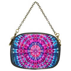 Red Blue Tie Dye Kaleidoscope Opaque Color Circle Chain Purses (Two Sides)