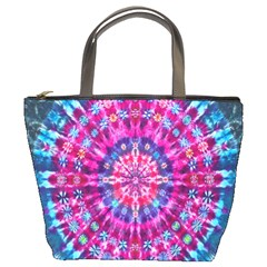 Red Blue Tie Dye Kaleidoscope Opaque Color Circle Bucket Bags