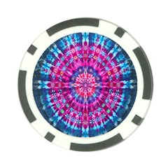 Red Blue Tie Dye Kaleidoscope Opaque Color Circle Poker Chip Card Guard (10 pack)