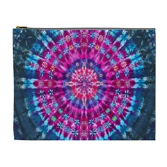 Red Blue Tie Dye Kaleidoscope Opaque Color Circle Cosmetic Bag (XL)