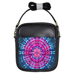 Red Blue Tie Dye Kaleidoscope Opaque Color Circle Girls Sling Bags