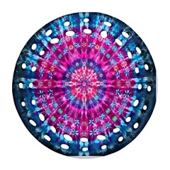 Red Blue Tie Dye Kaleidoscope Opaque Color Circle Ornament (Round Filigree)