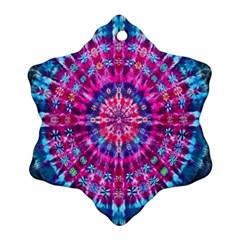 Red Blue Tie Dye Kaleidoscope Opaque Color Circle Ornament (Snowflake)