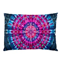 Red Blue Tie Dye Kaleidoscope Opaque Color Circle Pillow Case (Two Sides)