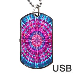 Red Blue Tie Dye Kaleidoscope Opaque Color Circle Dog Tag USB Flash (One Side)