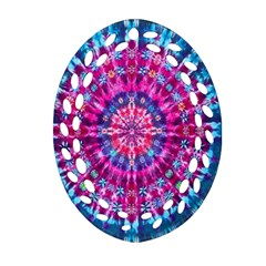 Red Blue Tie Dye Kaleidoscope Opaque Color Circle Ornament (Oval Filigree)