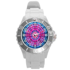 Red Blue Tie Dye Kaleidoscope Opaque Color Circle Round Plastic Sport Watch (L)