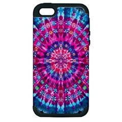 Red Blue Tie Dye Kaleidoscope Opaque Color Circle Apple iPhone 5 Hardshell Case (PC+Silicone)