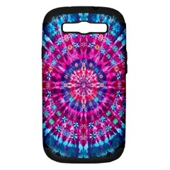 Red Blue Tie Dye Kaleidoscope Opaque Color Circle Samsung Galaxy S III Hardshell Case (PC+Silicone)