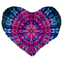 Red Blue Tie Dye Kaleidoscope Opaque Color Circle Large 19  Premium Heart Shape Cushions