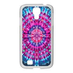 Red Blue Tie Dye Kaleidoscope Opaque Color Circle Samsung GALAXY S4 I9500/ I9505 Case (White)