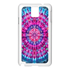 Red Blue Tie Dye Kaleidoscope Opaque Color Circle Samsung Galaxy Note 3 N9005 Case (white)
