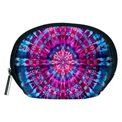 Red Blue Tie Dye Kaleidoscope Opaque Color Circle Accessory Pouches (Medium)