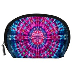 Red Blue Tie Dye Kaleidoscope Opaque Color Circle Accessory Pouches (Large)