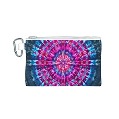 Red Blue Tie Dye Kaleidoscope Opaque Color Circle Canvas Cosmetic Bag (S)