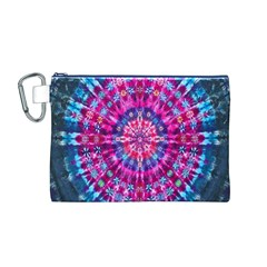 Red Blue Tie Dye Kaleidoscope Opaque Color Circle Canvas Cosmetic Bag (M)
