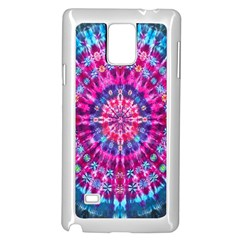 Red Blue Tie Dye Kaleidoscope Opaque Color Circle Samsung Galaxy Note 4 Case (White)